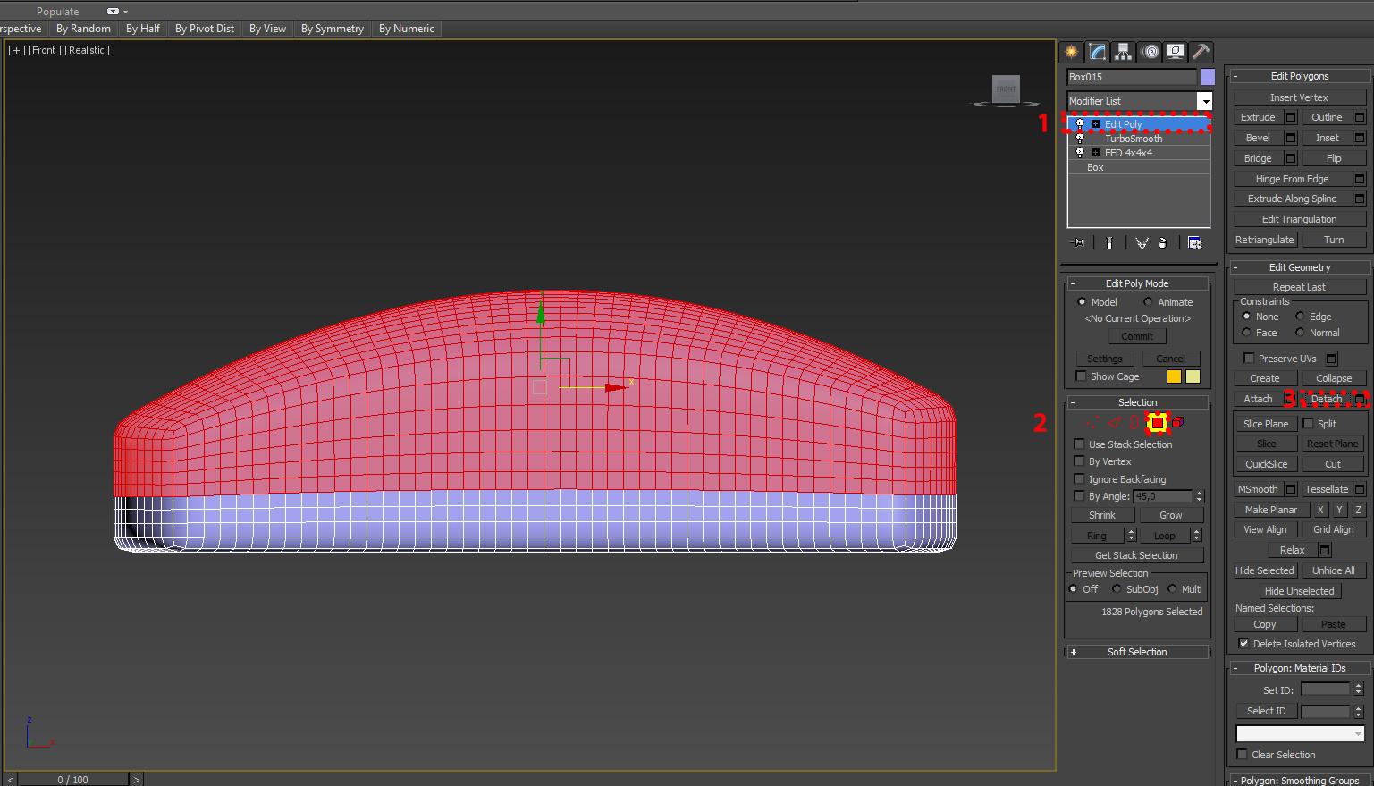 Отделяем часть полигонов от основной 3d модели